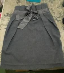 Saia cinza cintura alta