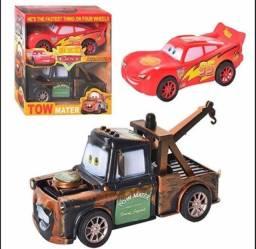 Kit 2x Carrinho Flicção Car Mcqueen Relampago + Mate Guincho Disney 0km novo na caixa