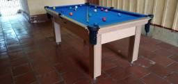 Mesa Tentação 1,93 x 1,18 Cor Cerejeira Tecido Azul Mod. YMCJ1488
