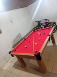 Mesa Tentação de Bilhar Cor Cerejeira Tecido Vermelho Mod. XCOC8100