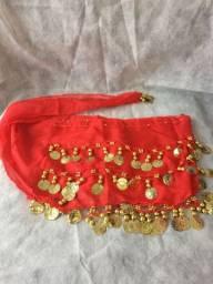 Lenço de quadril vermelho para dança do ventre