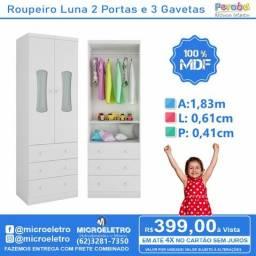 Roupeiro Luna 2 Portas e 3 Gavetas