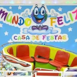 Casa de Festas Mundo Feliz + Decoração + Equipe + Buffet Infantil Completo