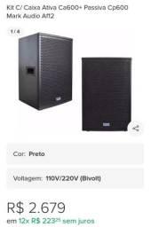 Kit C/ Caixa Ativa Ca600+ Passiva Cp600 Mark Audio Af12