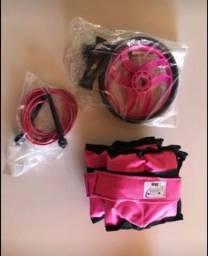Kit rosa toda abdominal + caneleira 3 Kg + corda