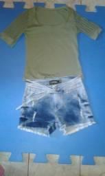 Título do anúncio: Vende-se um Short e uma blusa
