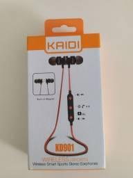 Fone De Ouvido Bluetooth Kaidi Kd901 Preto Original P/ Iphonne E Android FF