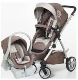 Carrinho Dzieco Maly Cappucino e bebê conforto com base para carro