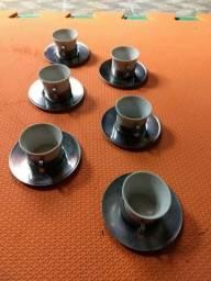 Xícaras De Café Antigo Inox, Porcelana
