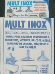 Fabricamos coifas industriais inox, mesas, vitrines, inox em geral.