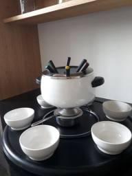 Conjunto Fondue Ceramica com Base Talheres Antiaderente