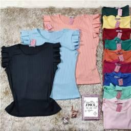 ????Blusas, Regatas e Shorts na Malha Canelada