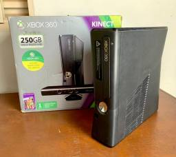 Xbox 360 Slim 250GB Original + Kinect + 30 Jogos no HD