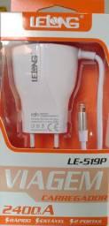 Carregador Rápido para Iphone (2.4A + 2 Portas USB) - Produto Novo