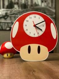Relógio de parede temático cogumelo vermelho super Mario