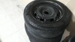 Roda e pneus 185/60/14  furacão 4por 100