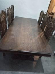 Mesa de sucupira c/ 6 cadeiras