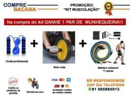 Kit Musculação Rolo roda Corda profissional Extensor 11 peças Brinde