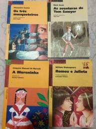 livros romeu e julieta, a moreninha, os tres mosqueteiros, as aventuras ds Tom Sawyner