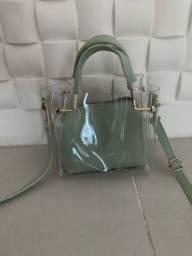 Bolsa verde transparente pequena nova plástico