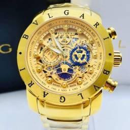 Relógio Luxo Bvlgari Eskeleton Banhado A Ouro 18k
