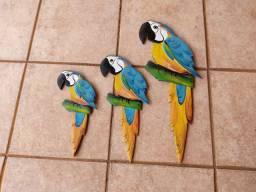Trio de Araras enfeites de parede