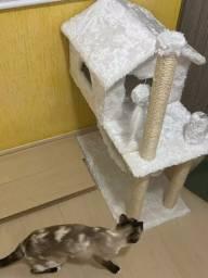 Arranhador para gatos casa com rede em perfeito estado