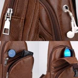Mochila Pochete Masculina Transversal Shoulder Bag Couro