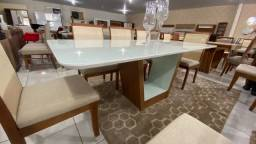 Mesa de 8 completa madeira e acabamento laka luxo