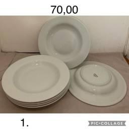 Louça branca, travessa servir, petisqueira, pratos, bowl, fondue e travessa forno.