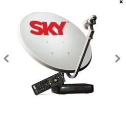 Receptor sky pre pago hd + antena 60 cm novo