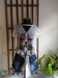 Camisa de malha estampada /  Short Jeans/ lencinho de setim