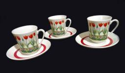 3 xícaras de café Villeroy & Boch de Luxemburgo da década de 70