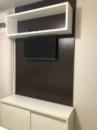 PASSO CARTÃO - Painel de TV com nicho + móvel de chão com rodinhas e portas de correr