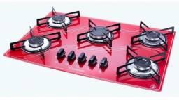 Fogão cooktop 5 bocas vermelho