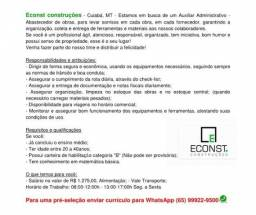 Contrata-se Auxiliar Administrativo - Abastecedor de obras