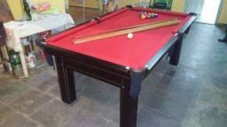 Mesa Tentação de Sinuca e Bilhar Cor Marrom Escuro Tecido Vermelho R4390