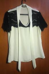 Blusa Branca - Com renda preta - Donna Ritz