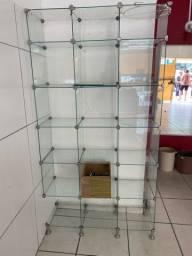 5 Estantes vidro loja 1,20cm por 1,80 altura