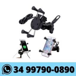 Suporte Celular Garra c/ Carregador Usb p/ Moto