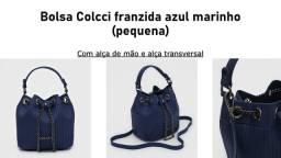 Bolsa Colcci franzida azul marinho (pequena)