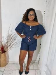Macaquinho Jeans Plus Sizer