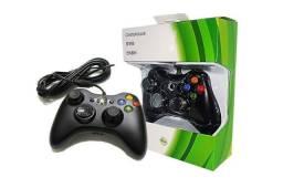 Controle Com Fio Xbox 360 Pc Computador 2 Metros Cabo Usb X-box Notebook<br>