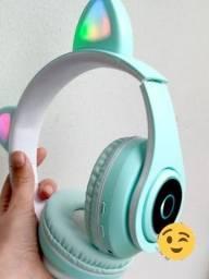 Fone de Ouvido Bluetooth Orelha de Gato com leds colorido