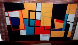 Título do anúncio: Quadro pintura moderna pintado a mão frete gratis