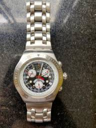 Relógio Swatch Masculino - Pulseira Prata, Mostrador Azul - Mod sr938sw