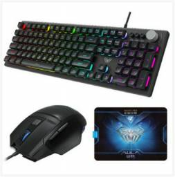 Kit Gamer Teclado Mouse e Mousepad Aula Wind T202 com LED<br><br>