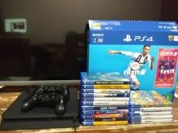 PS4 slim 1 terá, 2 controles e 18 jogos