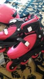 Patins rosa , roda de silicone veste 37 ao 40