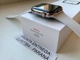 Apple Watch Série 4 44mm GPS + Celular Caixa de aço inoxidável. Completo. Troco